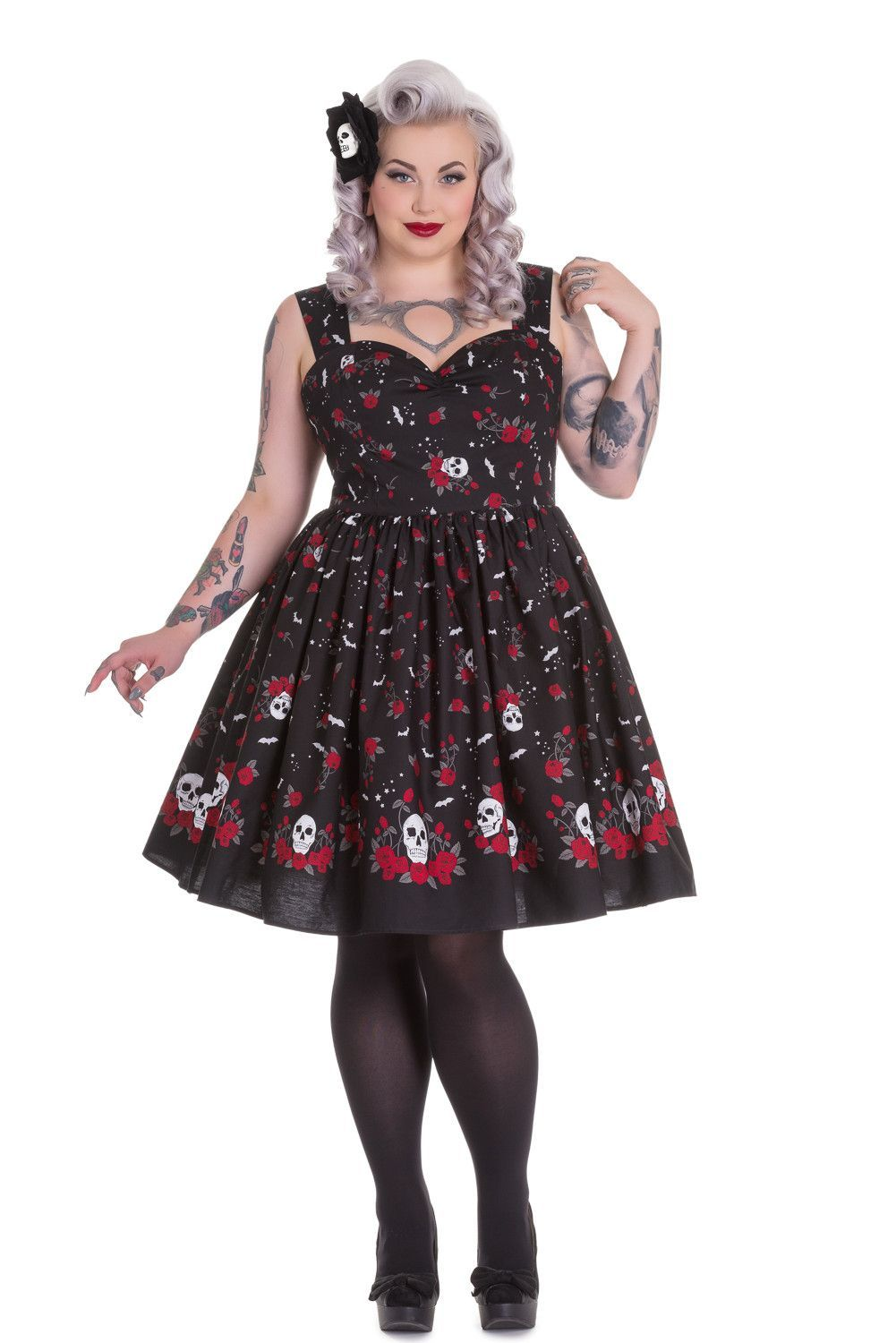 496e0f5c96bec Skelapparel - Hell Bunny Plus Size Rockabilly Goth Skull and Red Roses  Beautiful Soul Swing Dress
