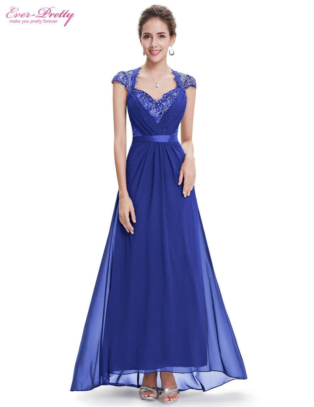 Evening dresses sexy v neck cap sleeve long formal evening dresses