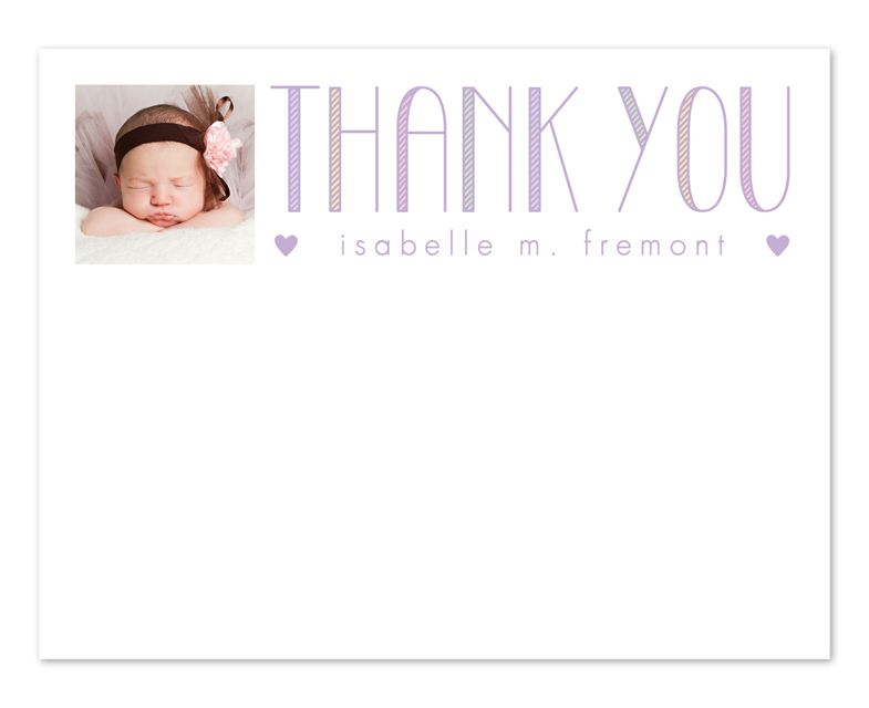 Tall Thank You Stationery - Perfect for after Baby Shower