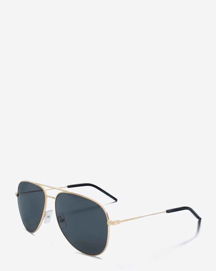 816887325 saintlaurent, Classic 11 Aviator Sunglasses in Rose Gold Steel with Blue  Lenses