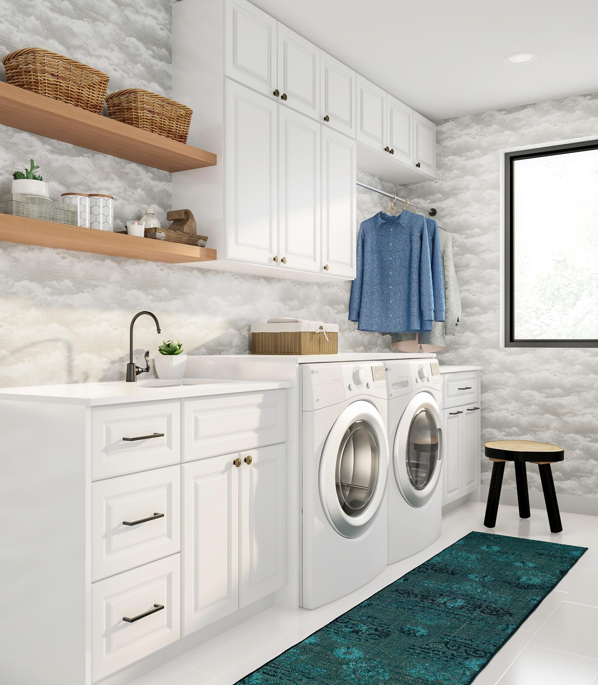 fluff up your laundry room with fun peel and stick on wall coverings id=95899