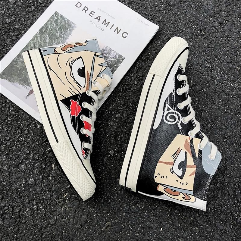 Photo of Anime Naruto Canvas Shoes Sasuke Men Vulcanized Shoes Kakashi Sneakers Gaara  Madara Pain Cosplay School  Outdoor Travel Shoes – White-173 / 40