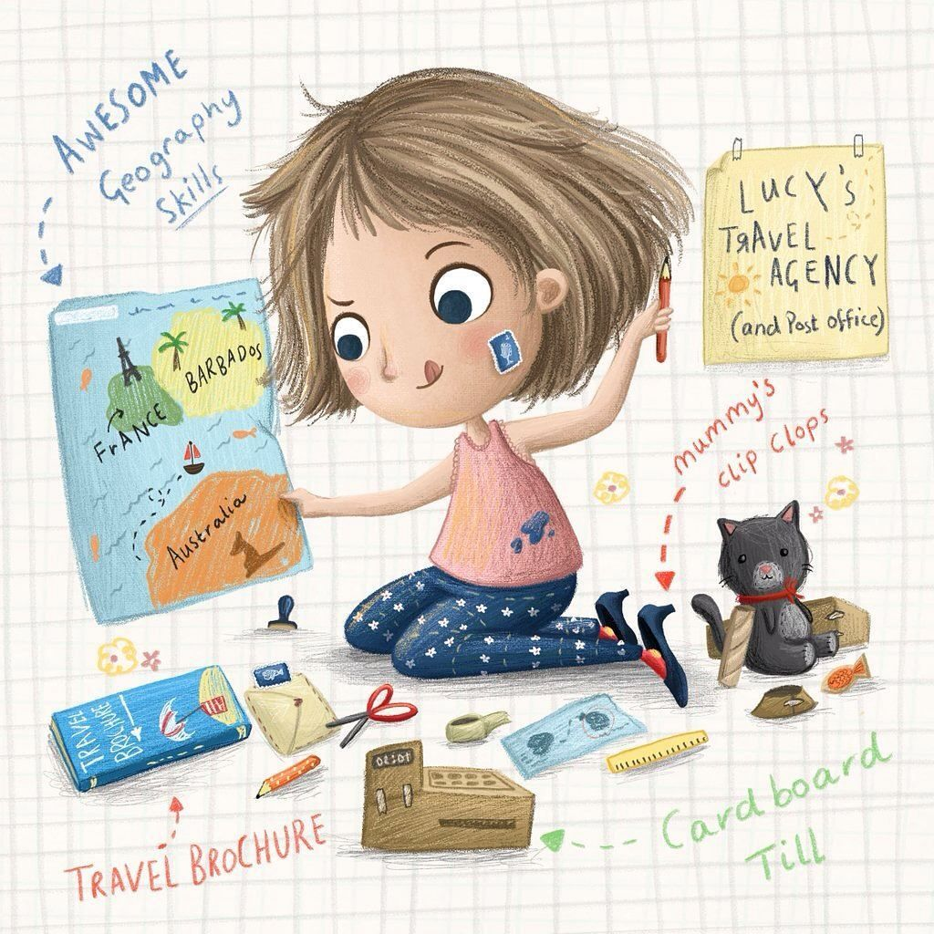 #wheniwasyoung I wanted to be a travel agent and made a car board till ⛵️ what did you want to be? #brightreads #illustration #illustrator #dreamjob #young #cute #travelagent #goals #nostalgic