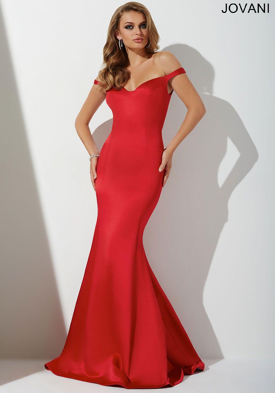 Elegant floor length poly-satin mermaid dress features an off the ...
