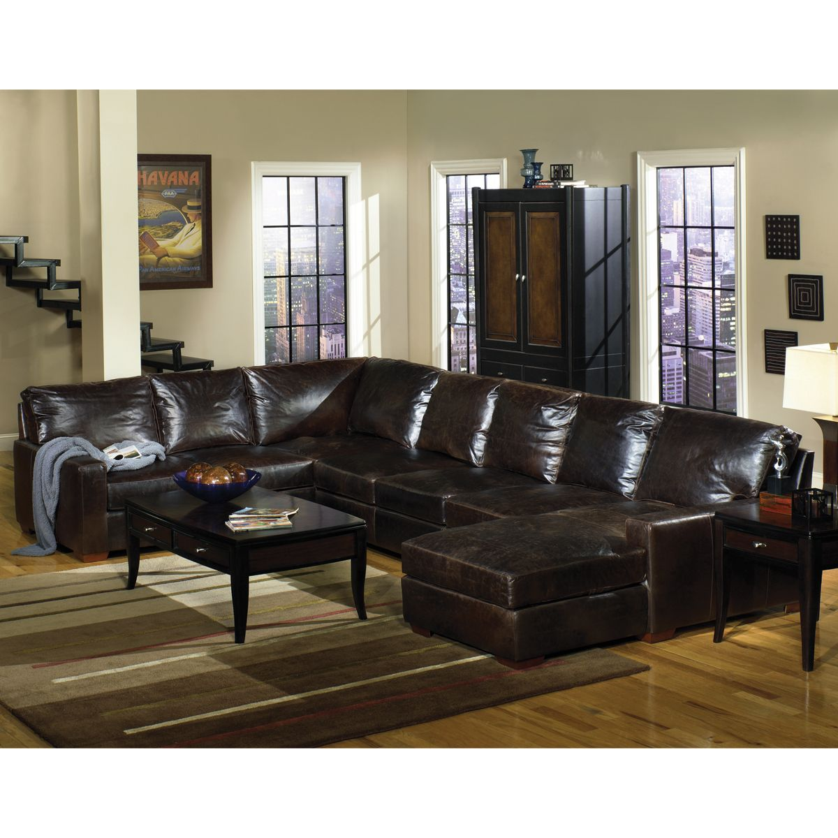 RC Willey 3 Piece Dark Tobacco Leather Sectional