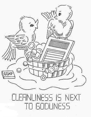 Old Hand Embroidery Pattern 7140 Birds with Words of