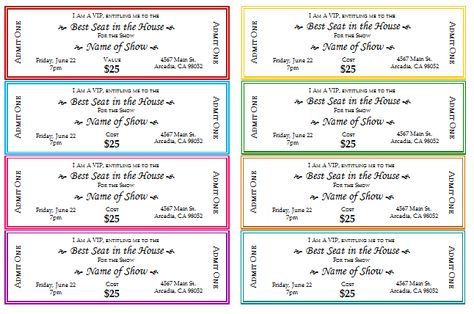 event ticket template printable tickets Pinterest Ticket - free printable event ticket templates