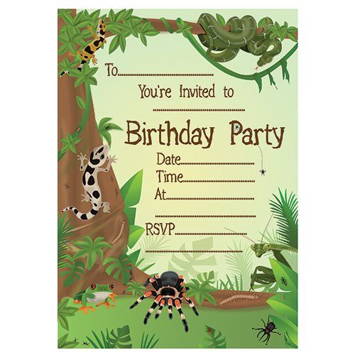Free printable reptile party invitation – Insect Birthday Invitations