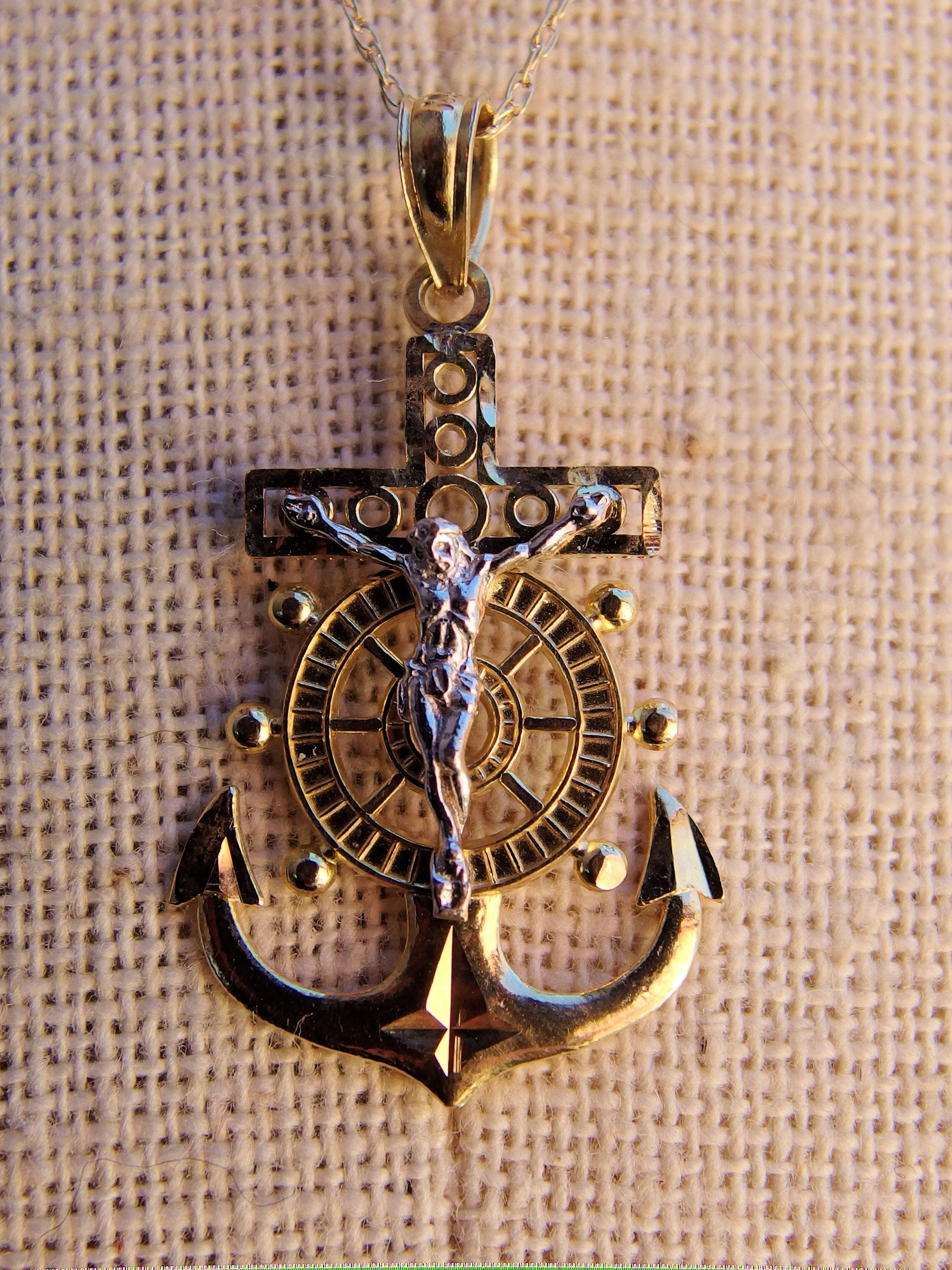 c55e1ac88c430 14k Mariner's Cross or Hope Cross Pendant, Crucifix with Ship's ...