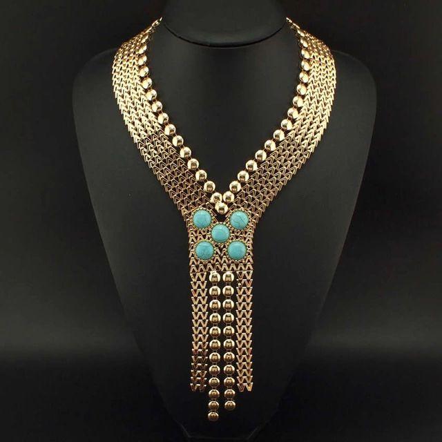 Moda Chunky de soldadura de la cadena turquesa collares largos 2015 nuevo estilo antiguo egipto joyería declaración #2189