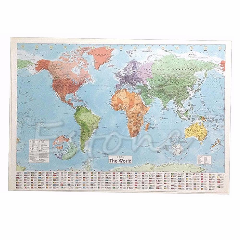 Wall map of the world chart political flags home art world map wall map of the world chart political flags home art world map poster decor gift gumiabroncs Gallery