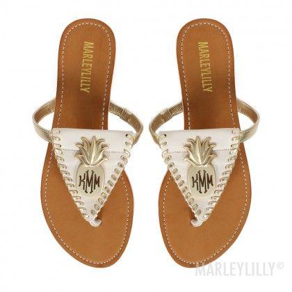 7aecf372e5fcb7 Monogrammed Pineapple Sandals
