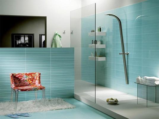 Recessed lighting, glass fixtures and mint green tiles brighten up ...