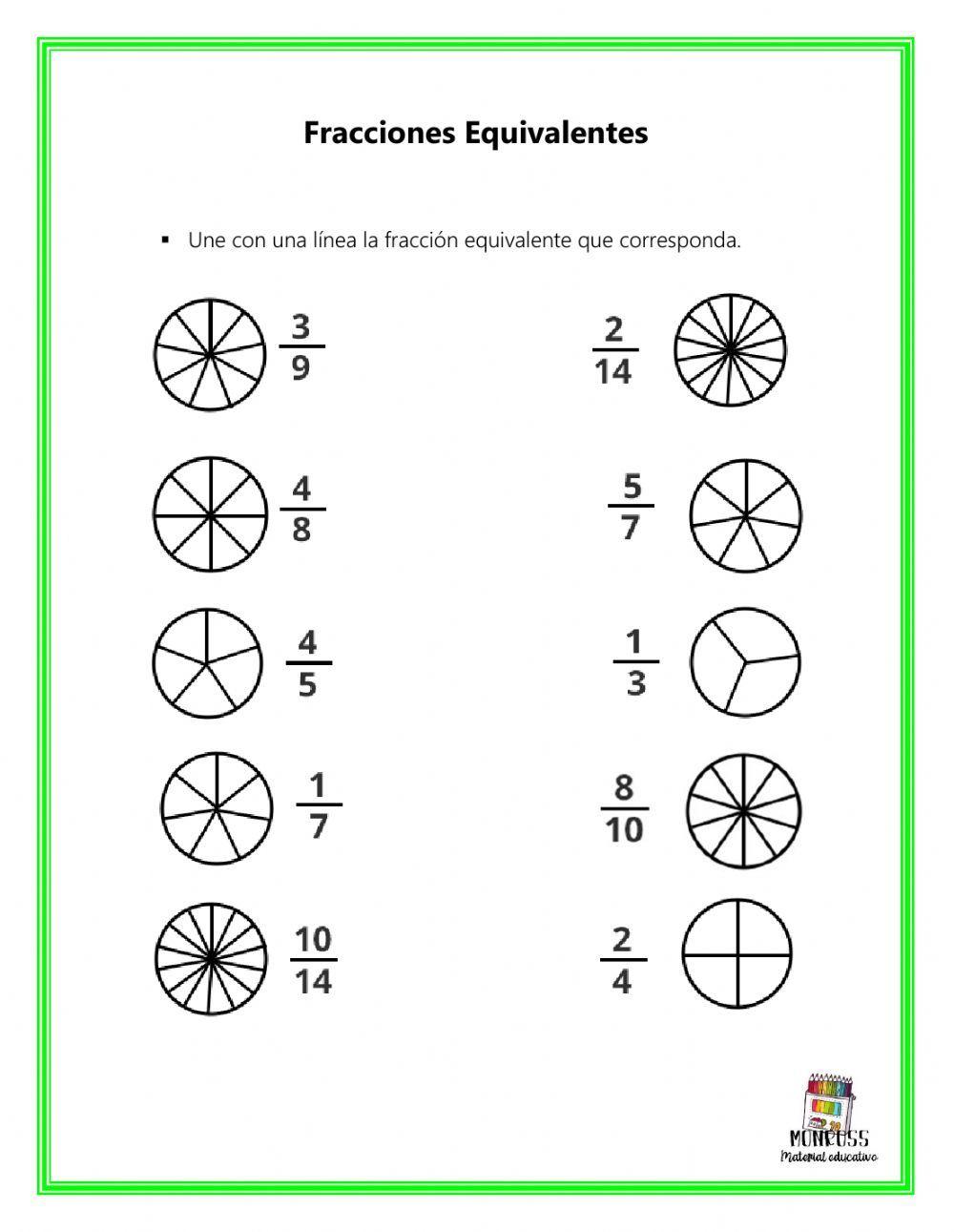 Fracciones Equivalentes Ficha Interactiva Fracciones Equivalentes Fracciones Matematicas Tercer Grado