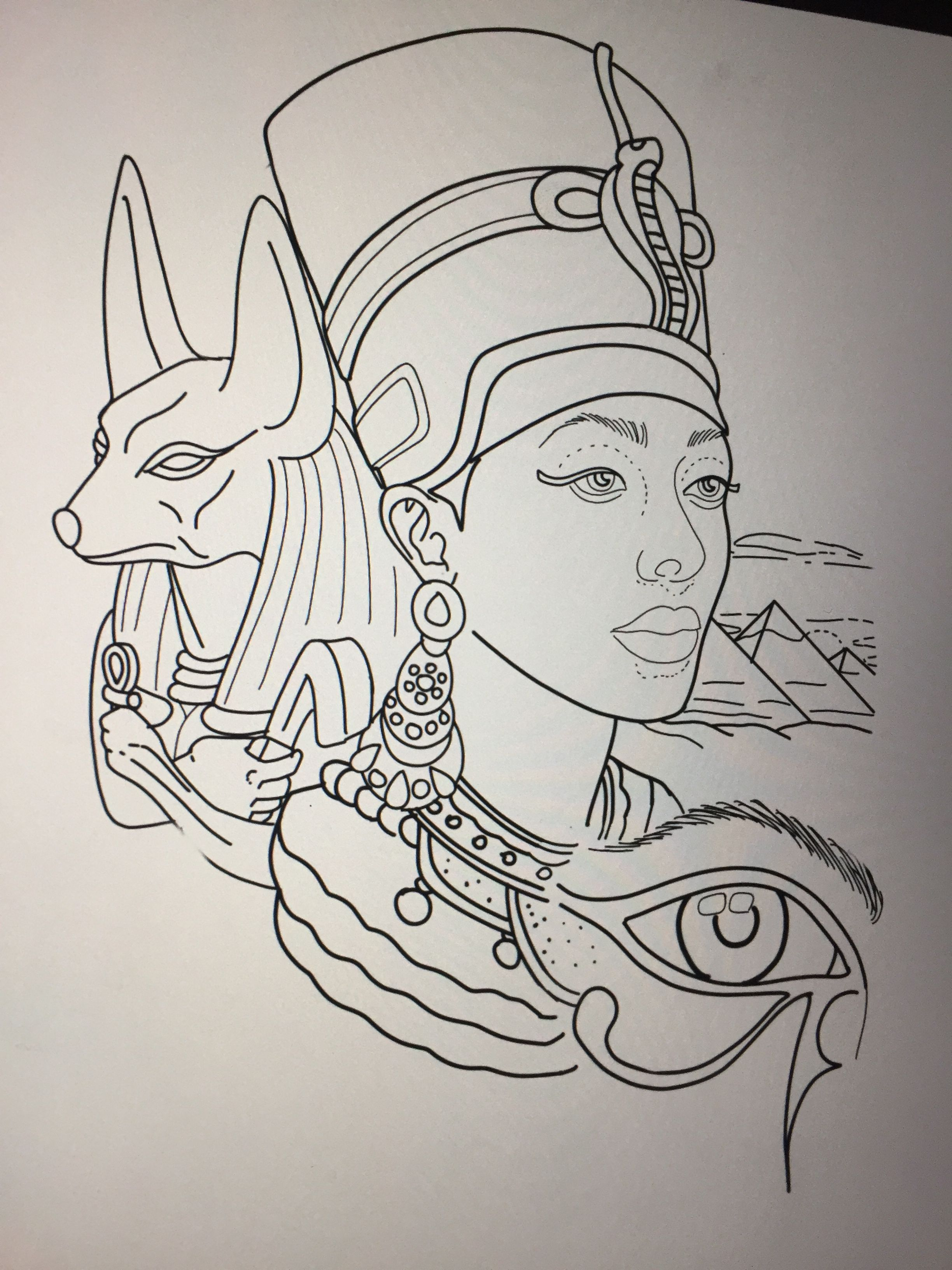 Egyptian Tattoo Design By Amanda Creek Tattoo Artist In Oak Harbor Washington Egyptian Drawings Egyptian Tattoo Nefertiti Tattoo