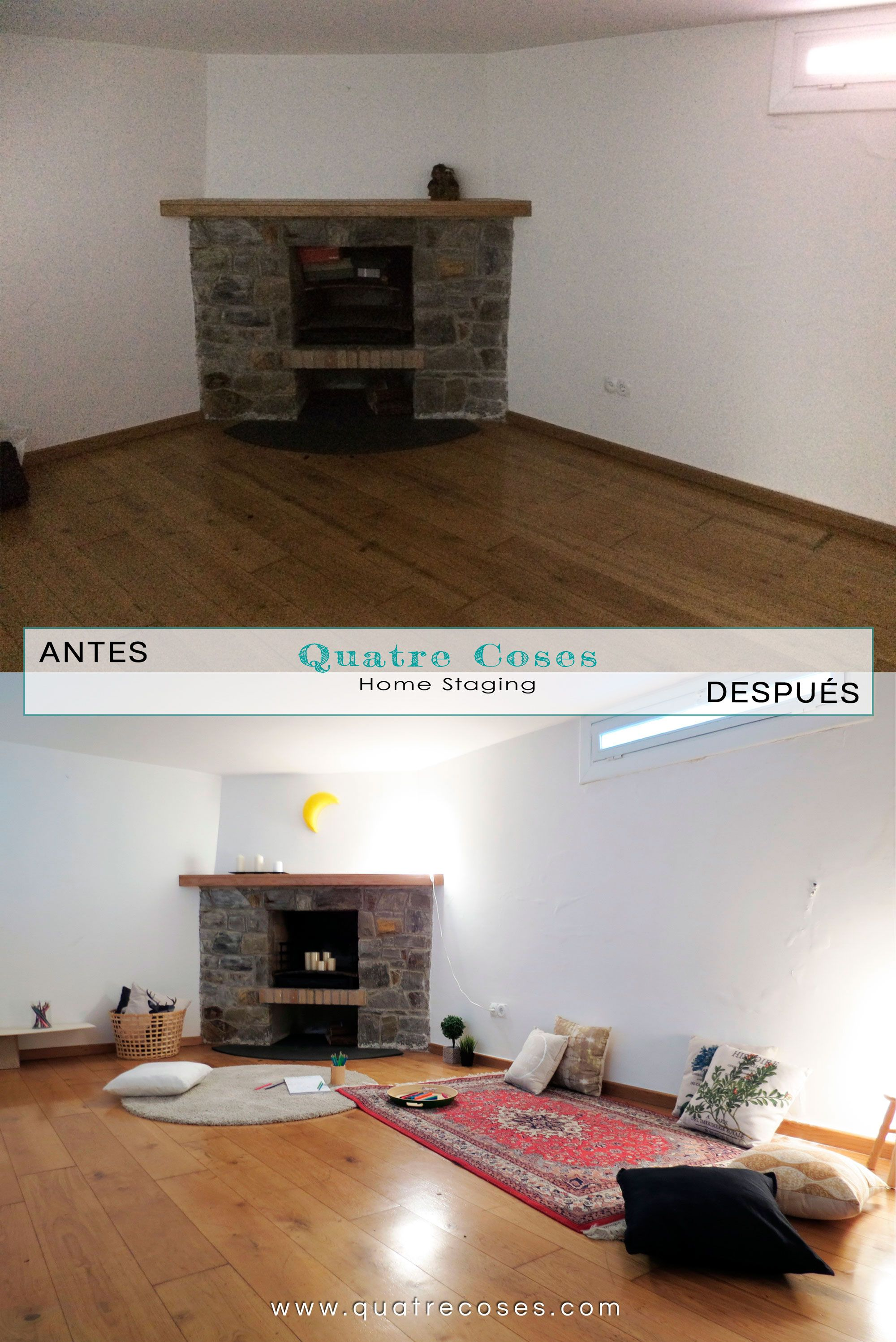 antes y despues de home staging en sotano con chimenea | HOME ...