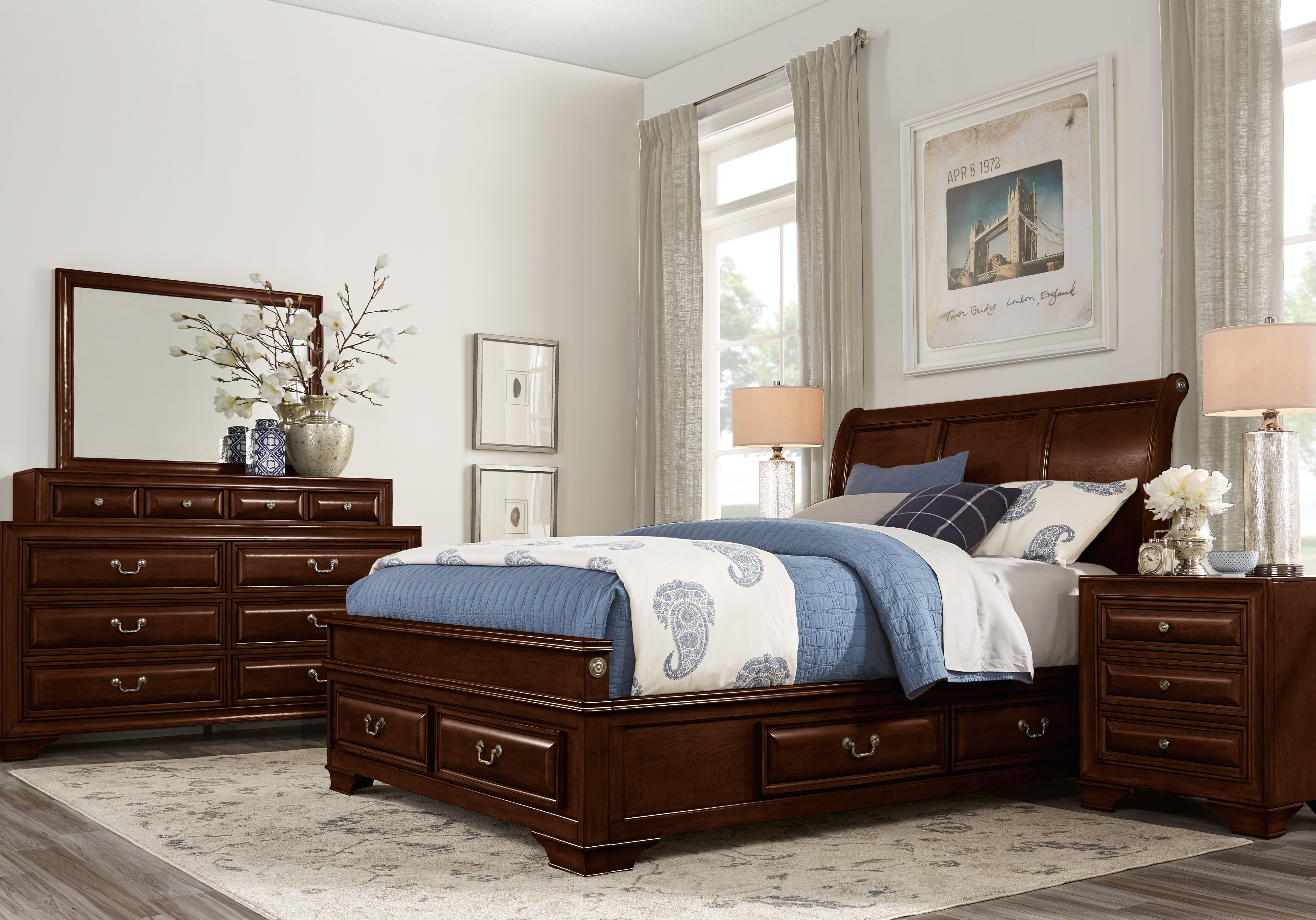 Mill Valley II Cherry 5 Pc King Sleigh Bedroom with Storage ...