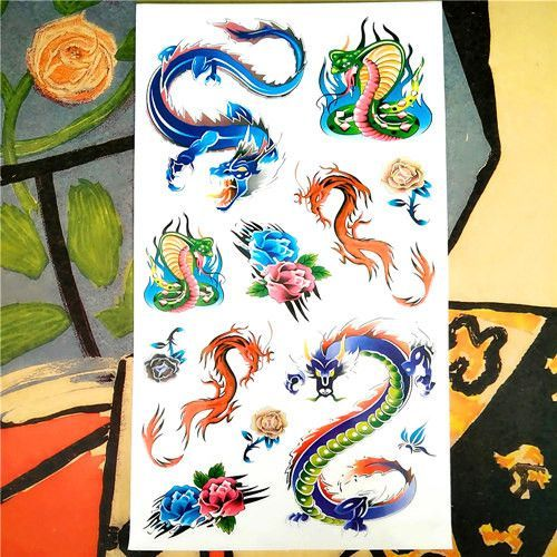 Beauty & Health Nu-taty Blue Rose Snake Temporary Tattoo Body Art Flash Tattoo Stickers 17*10cm Waterproof Fake Tatoo Car Styling Wall Sticker Tattoo & Body Art