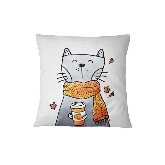 c5efdf65964 Cat Holding Pumpkin Spice Blend - Throw Pillow Case, Pillow Cover, Home  Decor - TPC1104