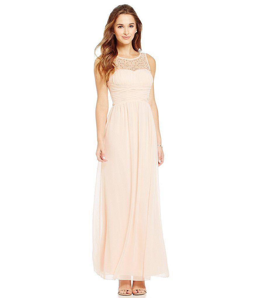 Xtraordinary embellished illusion yoke long sheath dress prom