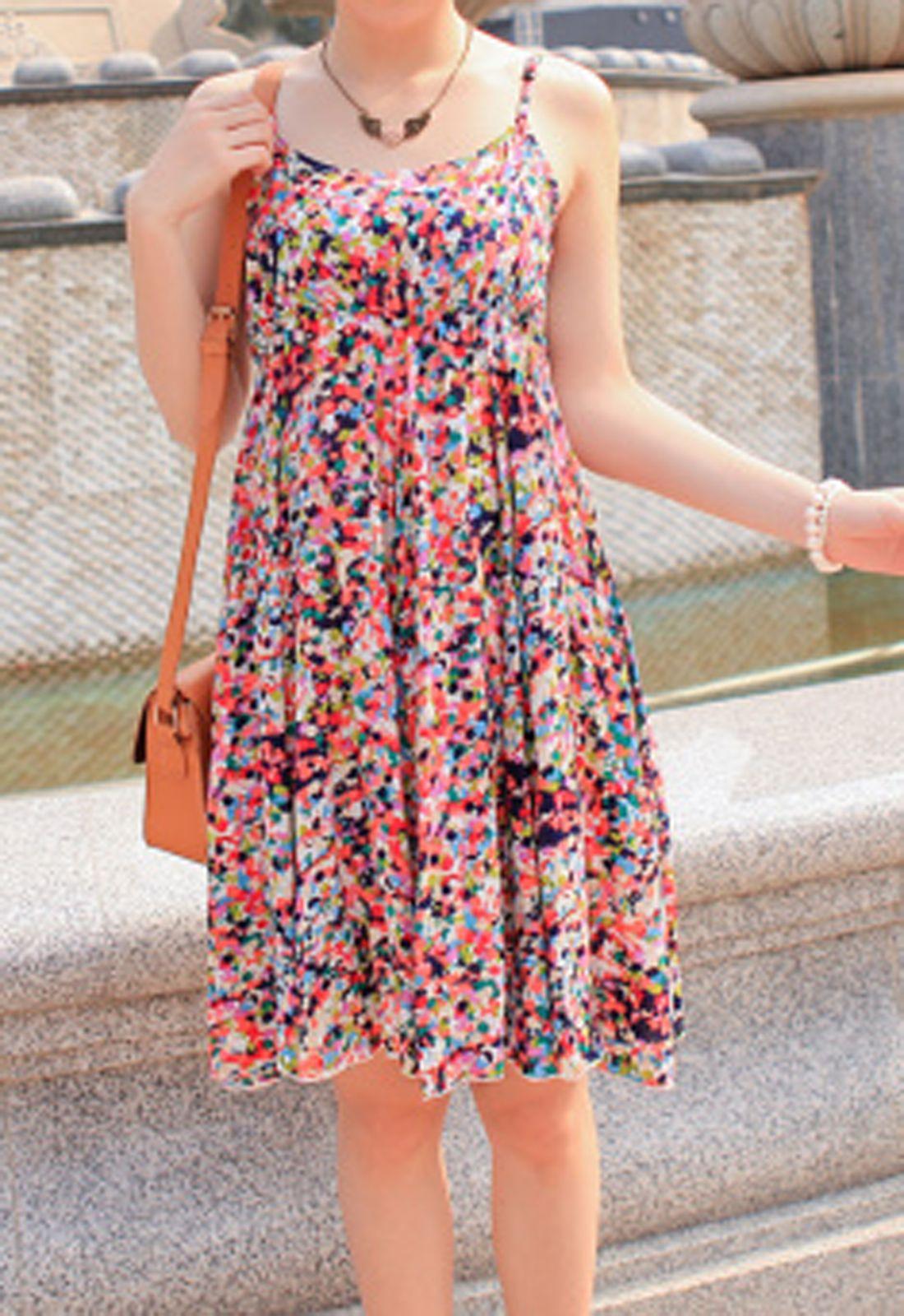BG-impression® Dot Spaghetti Strap Floral Dress