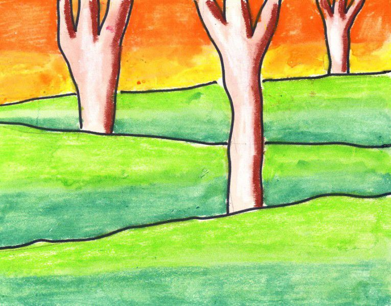 Draw A Layered Landscape Art Lessons Elementary Art Lessons For Kids Elementary Art