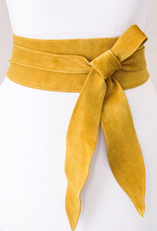 96880ff2475 Yellow suede obi belt https   www.etsy.com uk