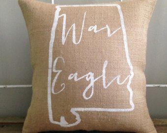 "Burlap Pillow- ""War Eagle"", Auburn University - Made to Order, Graduation Gift"