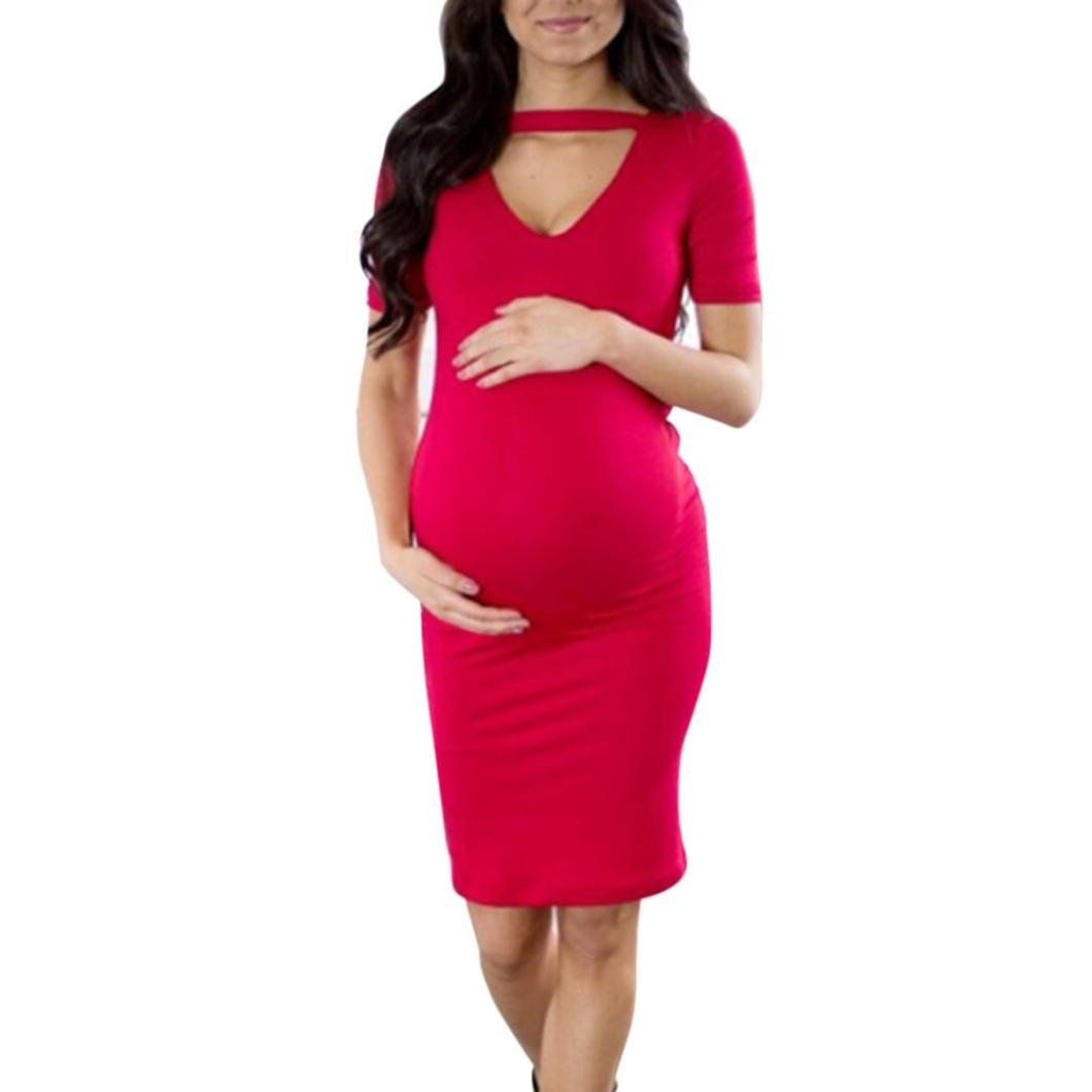 5ebb95137fce5 Women Maternity Clothes - Vanvler Maternity Dress Clearance! Pregnant  Clothes Summer Women Bodycon Dress Sexy Nursing Shirt L Red -- Check this  remarkable ...