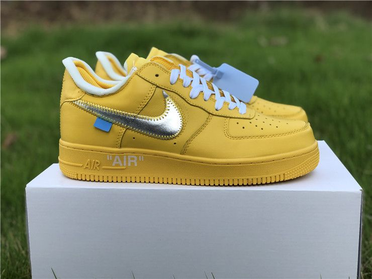 Brand New Off White Air Force 1 Low Yellow Metalic Silver Nike Air Max Air Force Nike Air