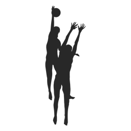 Volleyball Players In Action Silhouette Silhouette Volleyball Players Silhouette Png