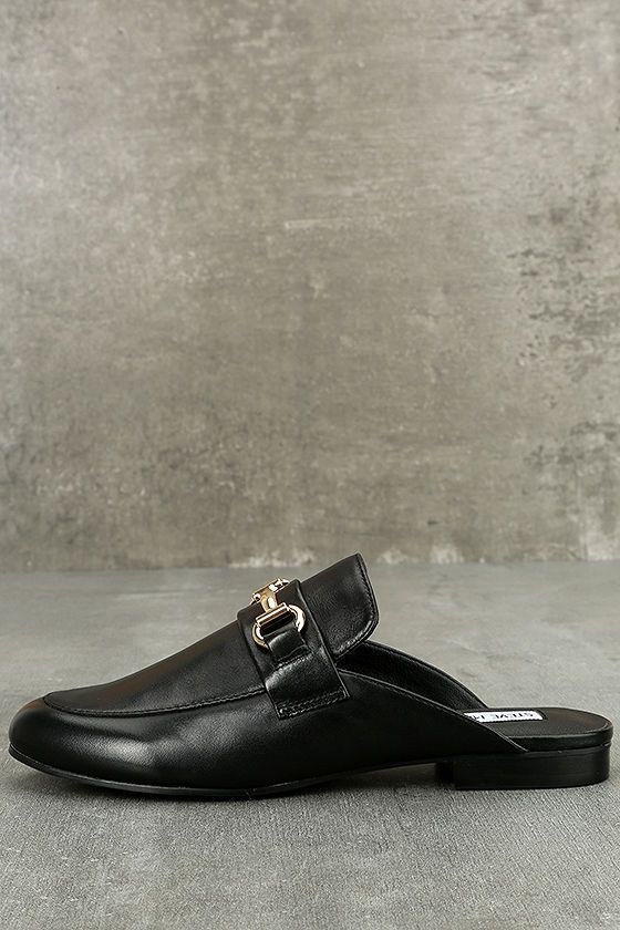 4c5ec9164572 The Steve Madden Kandi Black Leather Loafer Slides are perfect for your  fast paced lifestyle!