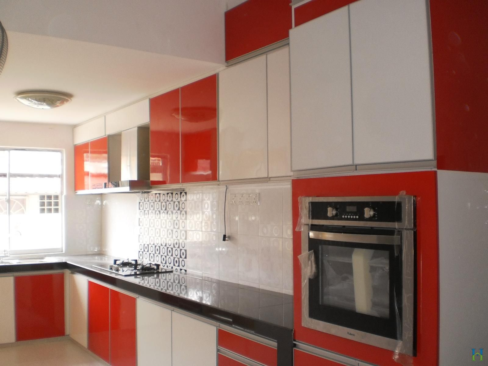 Astounding Red Cabinets And White Acrylic Kitchen Cabinetry Door Panels  With Built In Microwave Shelves In