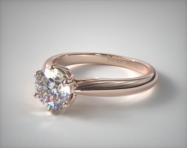 14k Rose Gold Modern Tulip Diamond Engagement Ring Diamond Engagement Rings Solitaire Engagement Ring 14k Engagement Ring
