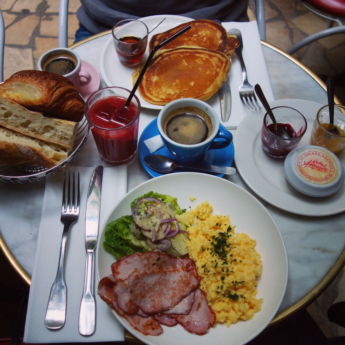 Brunch at the Hotel Amour in Paris.