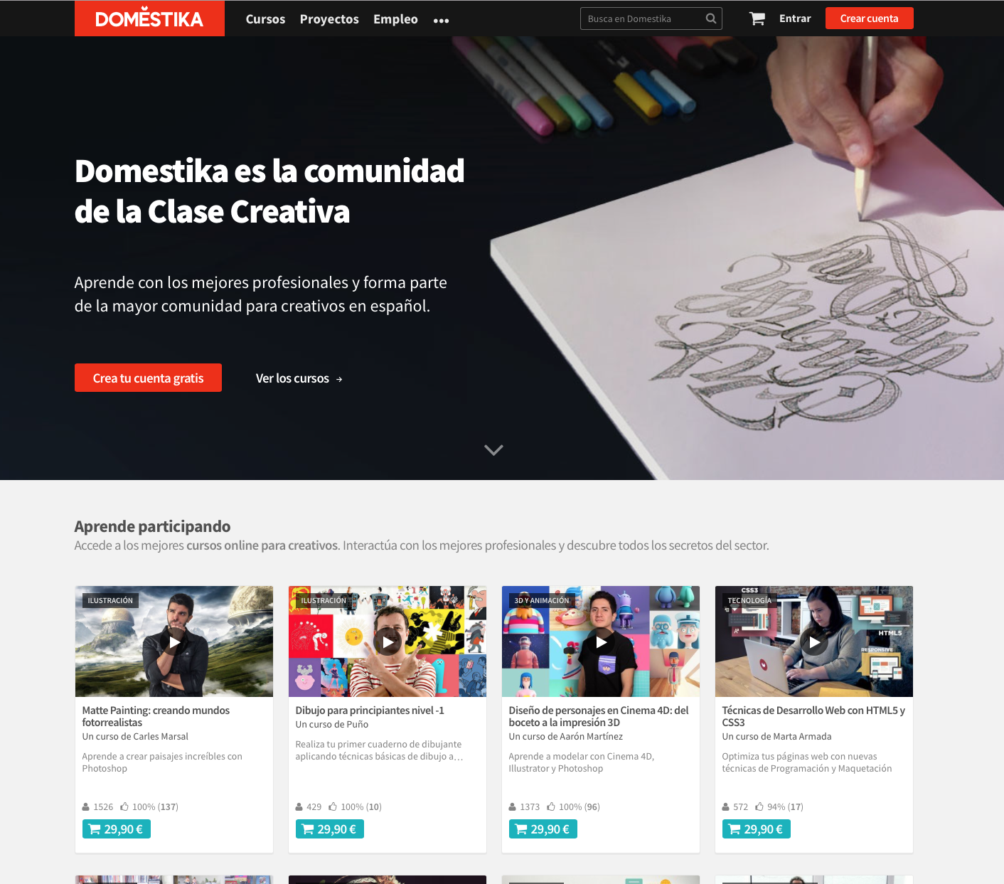 Domestika Org Homepage Main Banner With A Dark Image With White Text On Top Course Are Cards More Similar To Materi Learning Sites Web Design Material Design