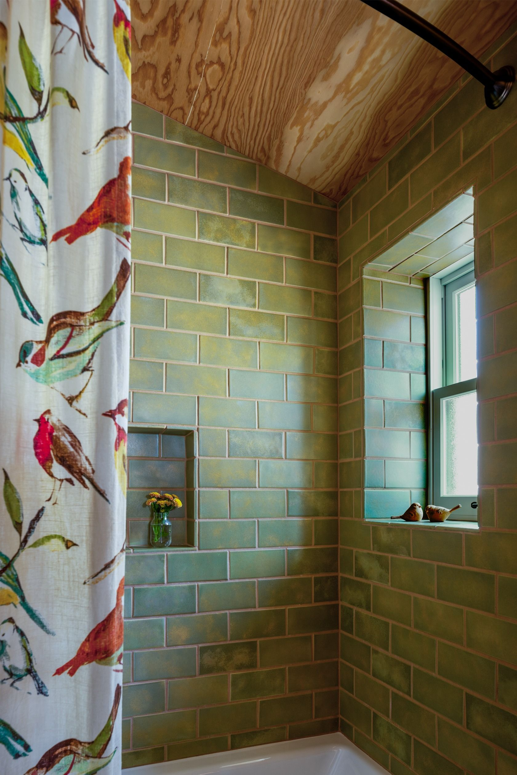 Green Tile In The Shower Extends Up To The Exposed Plywood Ceiling Cabin Bathroom Greentiledbathroom Greentile Green Tile Plywood Ceiling Exposed Ceilings