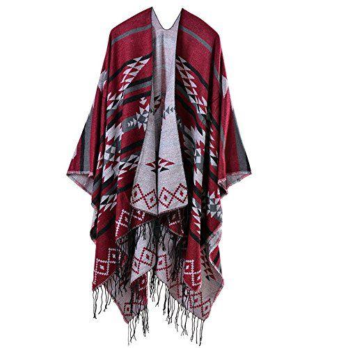 Beunique Femme Poncho Tricot à Losange avec Frange Mode Ethnique Ouverture Chaud  Echarpe Mode Châle Automne cd35776bc55