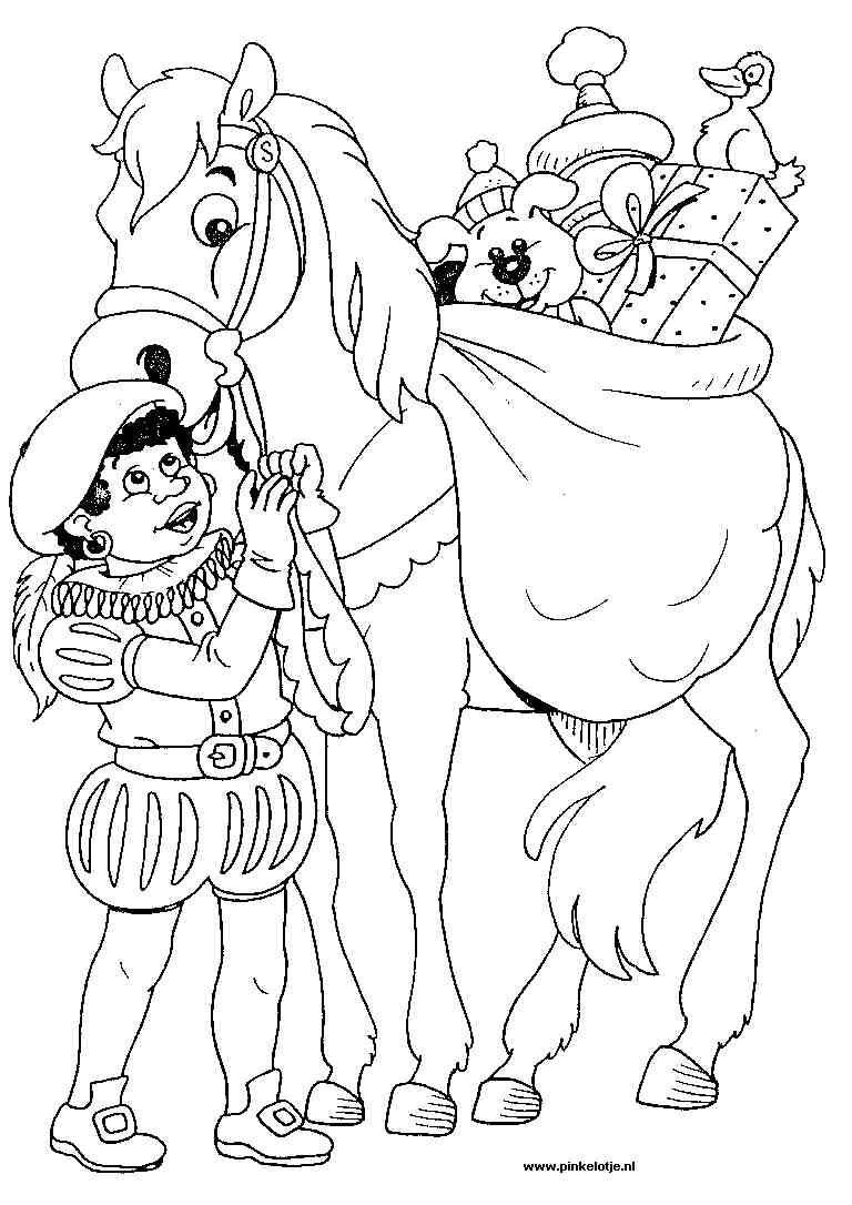 Zwarte Piet Met Het Paard Van Sinterklaas En Een Heleboel Kadootjes Sinterklaas Kleurplaten Voor Kinderen Kleurplaten