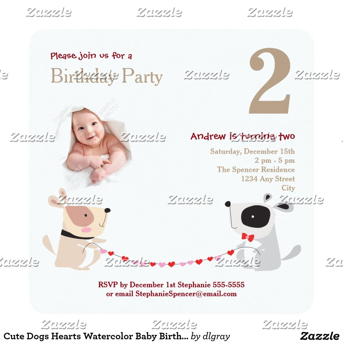 Cute Dogs Hearts Watercolor Baby Birthday Party Card | Birthday ...