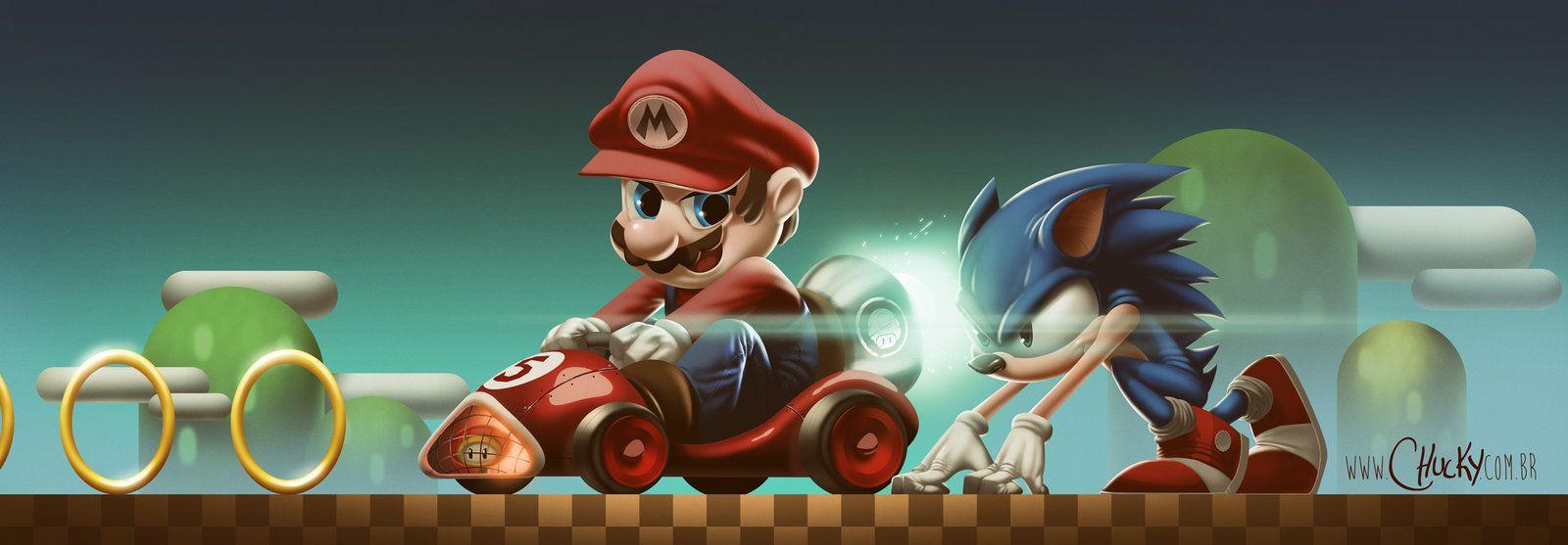 Mario Vs Sonic By Fubango Deviantart Com On Deviantart Tag Art