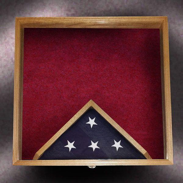 24x24x3 Red Oak With 3x5 Bottom Center Flag Frame Greg Seitz Woodworking Framed Flag Military Shadow Box Red Oak