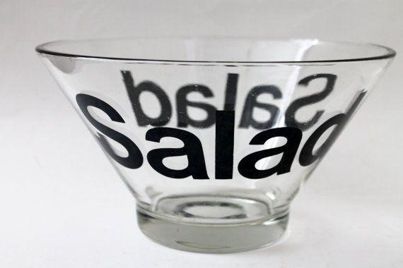 Retro Typography Glass Salad Bowl