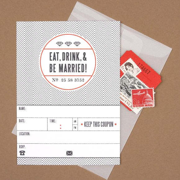 Eat Drink and Be Married Card Ticket invitation, Free wedding and