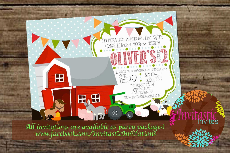 Farm Animal Birthday Invitation, Old McDonald Theme, Farmer Birthday ...