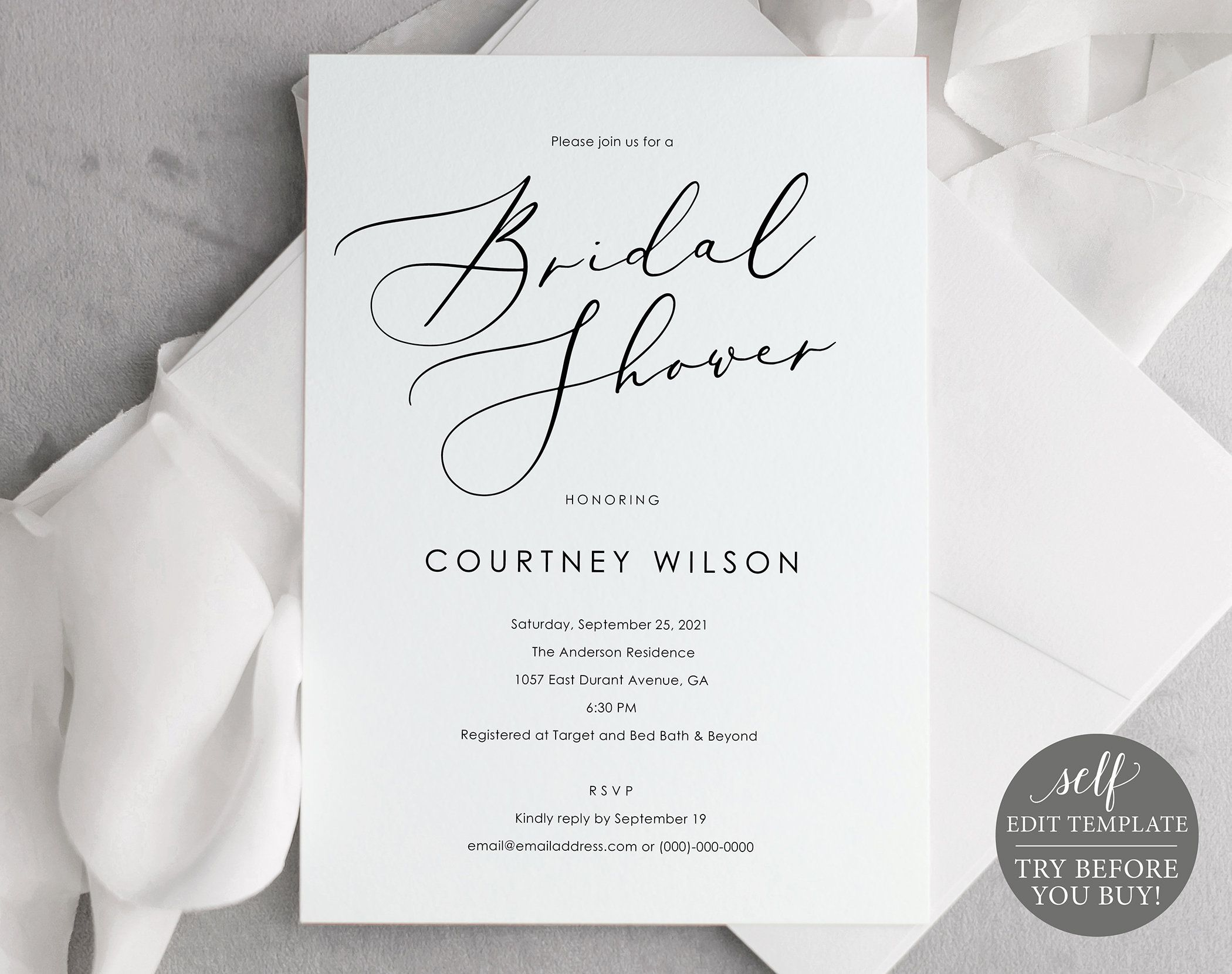 Bridal Shower Invitation Template Calligraphy Try Before You Etsy Bridal Shower Invitations Templates Bridal Shower Invitations Wedding Invitations Printable Templates