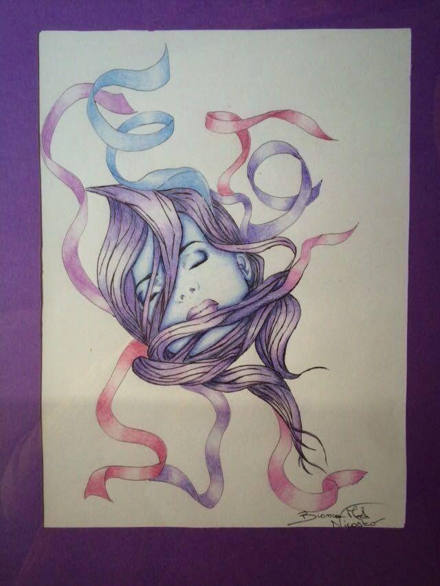 pensieri di donna, nastri, volto di donna, pensieri, colore, pencil on paper