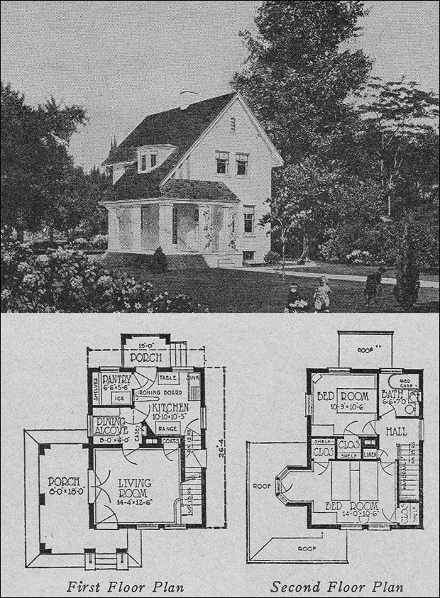 1920s Classical Revival 2 Story Home Small Homes Books Of A Thousand Homes Olsen Urbain Architec Vintage House Plans House Plans Farmhouse House Plans
