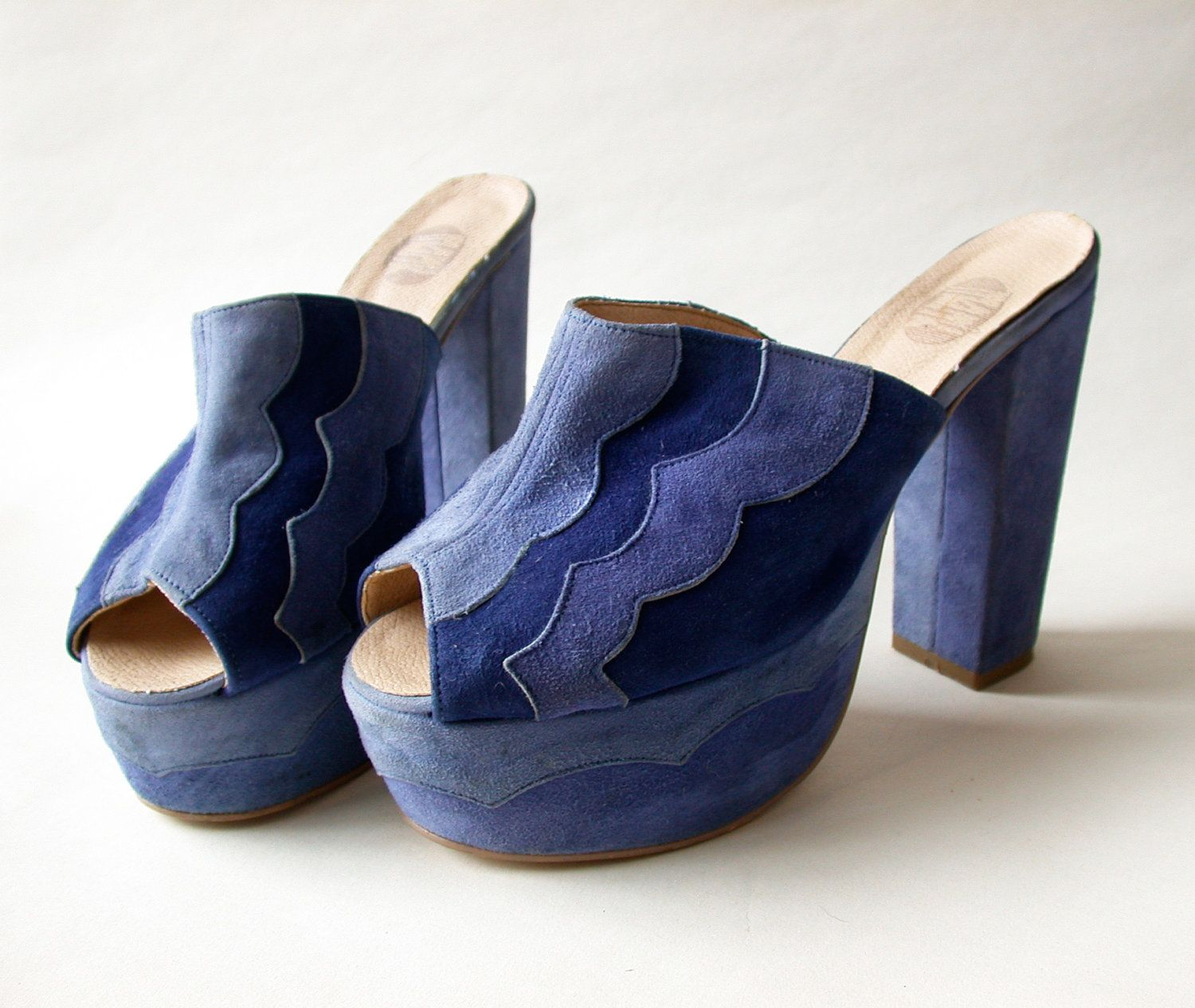 Lovely 1970s Blue Suede Platforms With By