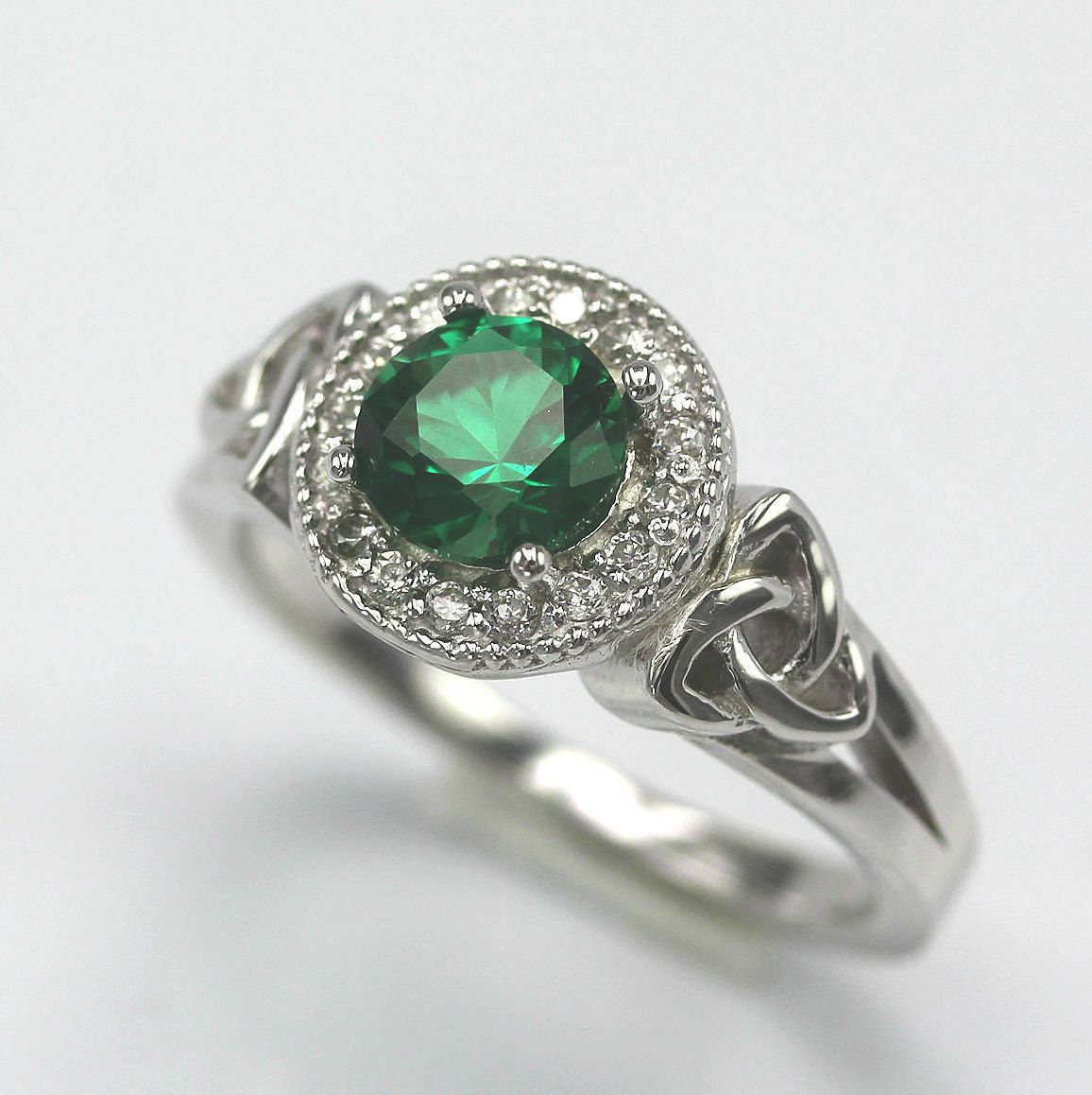 Celtic Orla Sterling Silver Engagement Ring With 1 0ct Emerald And Diamond Stimulants Wedding Anniversary Love And Friendship Promise Celtic Wedding Rings Fashion Rings Sterling Silver Engagement Rings